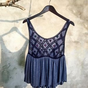 Free People Boho embroidered camisole in navy blue